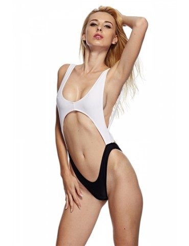 Black And White Sleeveless High Cut Out One Piece Swimsuit