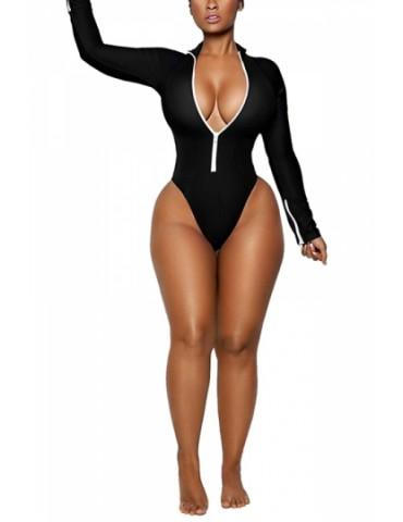 Long Sleeve Zipper Front High Cut One Piece Swimsuit Black