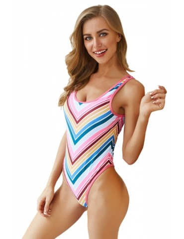 High Cut One Piece Scoop Neck Color Striped Swimsuit Pink