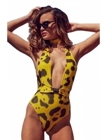 Halter Deep V Neck Leopard Print Buckle One Piece Swimsuit Yellow