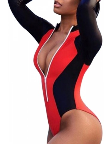 Long Sleeve Color Block Zipper High Cut One Piece Swimsuit Red