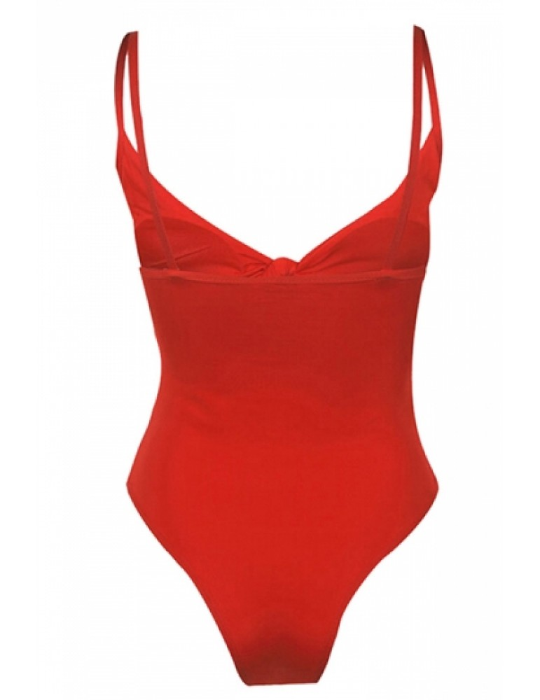Womens Sexy Tie Bandage Cut Out High Waisted One Piece Swimsuit Red