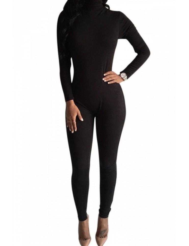 Black Long Sleeve Turtleneck Catsuit Bodycon Jumpsuits For Women