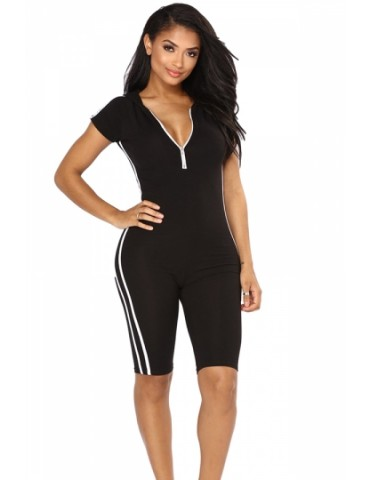 Zipper Front Hooded Short Sleeve Stripe Sides Plain Sports Romper Black