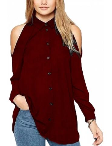 Plus Size Cold Shoulder Long Sleeve Button Down Plain Blouse Ruby