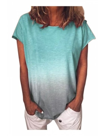 Plus Size Crew Neck Short Sleeve Ombre Loose T-Shirt Turquoise