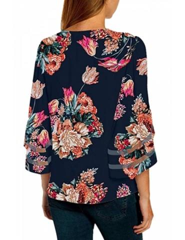 Plus Size 3/4 Sleeve Mesh Floral Print Blouse Navy Blue