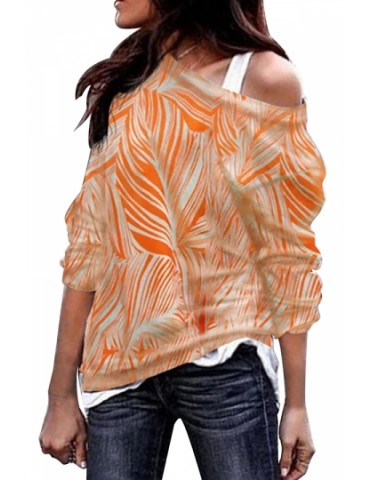 Plus Size Crew Neck Print T-Shirt Orange