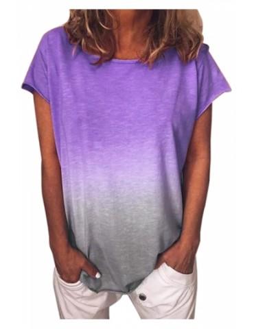 Plus Size Crew Neck Ombre Loose Short Sleeve T-Shirt Purple