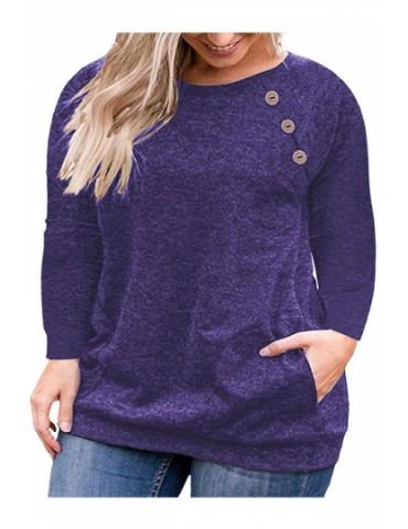 Plus Size Button Crew Neck Pocket Long Sleeve T-Shirt Blue