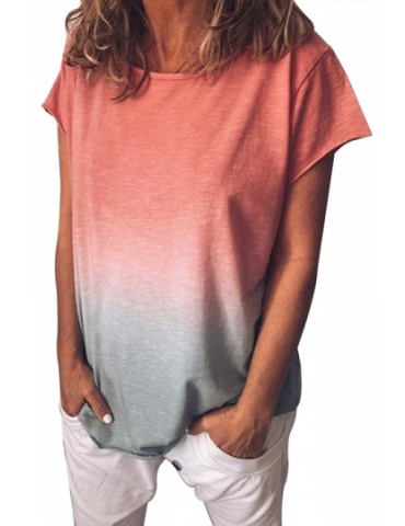 Plus Size Crew Neck Short Sleeve Ombre Loose T-Shirt Watermelon Red
