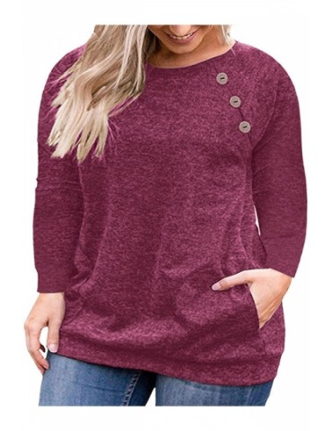 Plus Size Button Crew Neck Pocket Long Sleeve T-Shirt Ruby