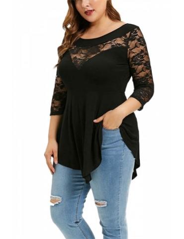 Plus Size 3/4 Sleeve Floral Lace Blouse Black