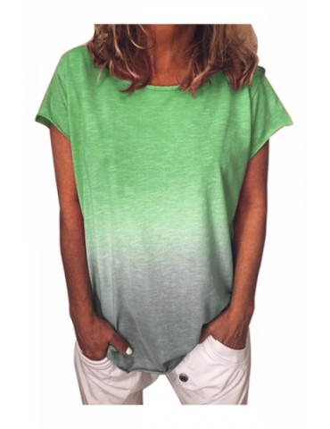 Plus Size Crew Neck Short Sleeve Ombre Loose T-Shirt Green