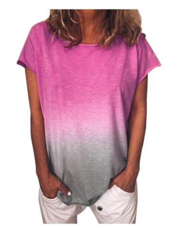 Plus Size Crew Neck Short Sleeve Ombre Loose T-Shirt Burgundy