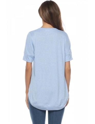 Crew Neck Short Sleeve High Low Plain T-Shirt Light Blue