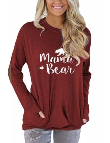Crew Neck Long Sleeve Kangaroo Pocket Loose Print Sweatshirt Ruby