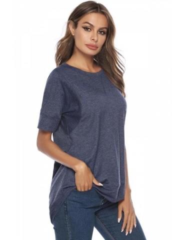 Crew Neck Short Sleeve Plain High Low T-Shirt Navy Blue