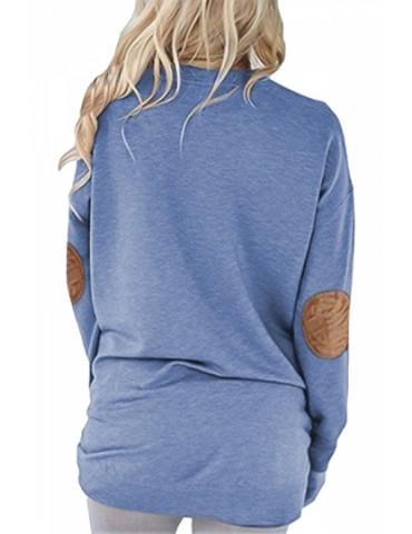 Crew Neck Long Sleeve Kangaroo Pocket Loose Print Sweatshirt Blue