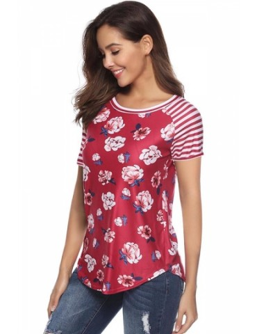 Crew Neck Short Sleeve Striped Floral Print T-Shirt Red