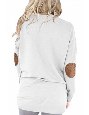 Crew Neck Long Sleeve Kangaroo Pocket Loose Print Sweatshirt White