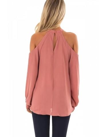 Cut Out Halter Cold Shoulder Long Sleeve Wrap Plain T-Shirt Pink