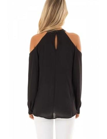 Cut Out Halter Cold Shoulder Long Sleeve Wrap Plain T-Shirt Black