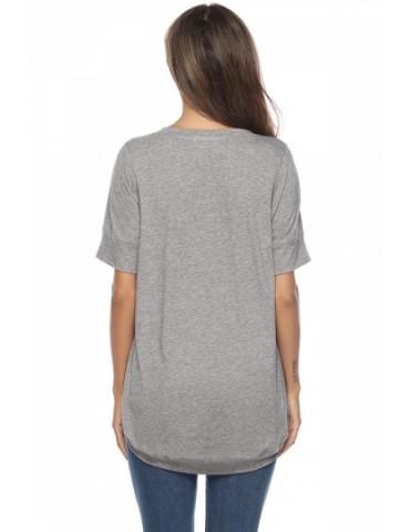 Crew Neck Short Sleeve High Low Plain T-Shirt Gray