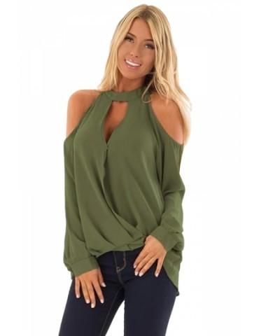 Cut Out Halter Cold Shoulder Long Sleeve Wrap Plain T-Shirt Olive Green