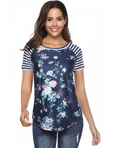 Crew Neck Short Sleeve Striped Floral Print T-Shirt Navy Blue