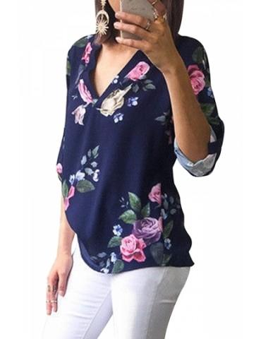 Fashion V Neck Long Sleeve Floral Print Loose Blouse Navy Blue