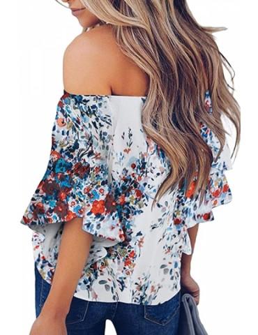 Loose Floral Print Off Shoulder Blouse Blue