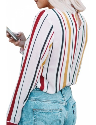 Fashion Long Sleeve Tie Neck Loose Colorful Striped Blouse Yellow
