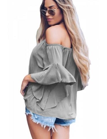 Fashion Off Shoulder Ruffle Tie Front Loose Plain Blouse Gray