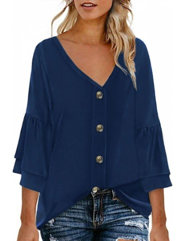 Button Front Ruffle Sleeve Blouse Navy Blue