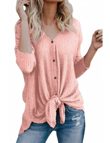 Long Sleeve V Neck Button Down Tie Bottom Loose Plain Blouse Pink
