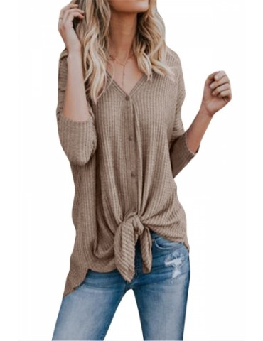 Long Sleeve V Neck Button Down Tie Bottom Loose Plain Blouse Coffee