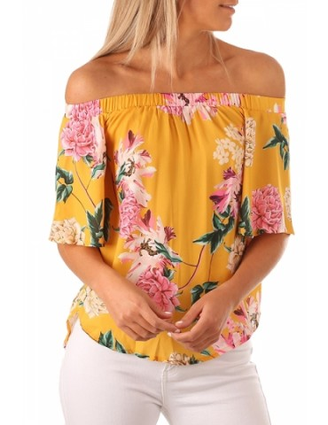 Half Sleeve Off Shoulder Floral Print Loose Blouse Yellow