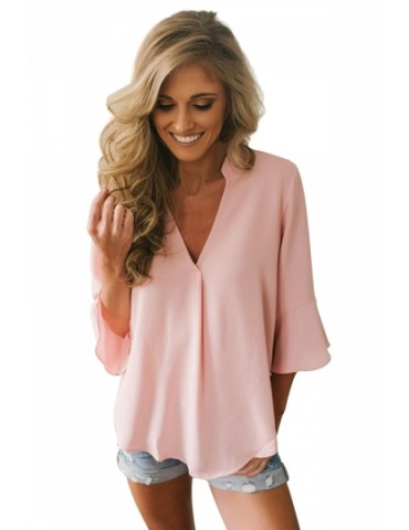Fashion V Neck Bell Sleeve Loose Plain Blouse Pink