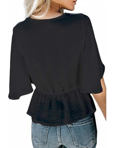 Bell Sleeve Twist Pleated V Neck Blouse Black