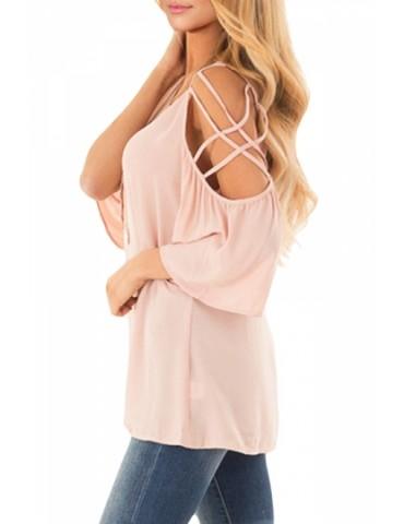 Cold Shoulder Plain Strappy Blouse Pink