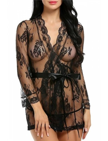 Sexy Long Sleeve Waist Tie Lace Sheer Babydoll With Thong Black