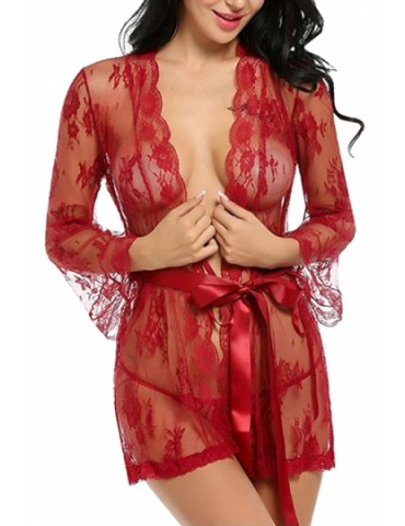 Sexy Long Sleeve Waist Tie Lace Sheer Babydoll With Thong Red