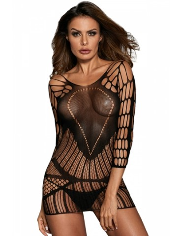 Sexy Backless 3/4 Sleeve Seamless Mesh Cut Out Sheer Babydoll Black