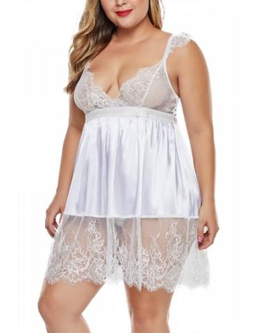 Plus Bridal Babydoll Set Lace Trim White