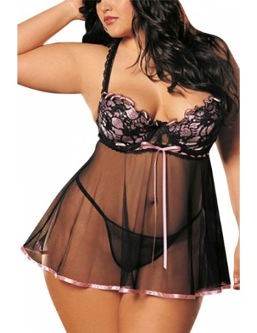 Pink Plus Size Bow Ruffle Sheer Sexy Chic Ladies Babydoll