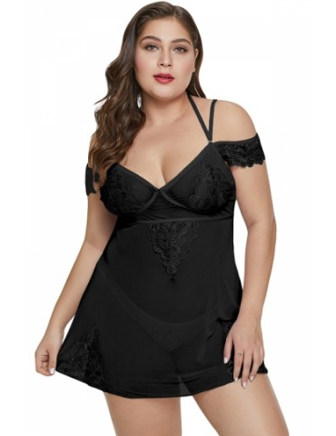Plus Size Floral Lace Mesh Sheer Babydoll With Thong Black