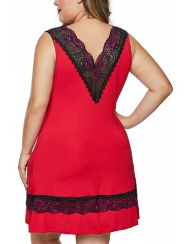 Plus Size Floral Lace Babydoll Set Red