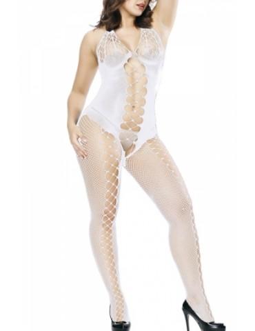 Backless Fishnet Bodystocking White