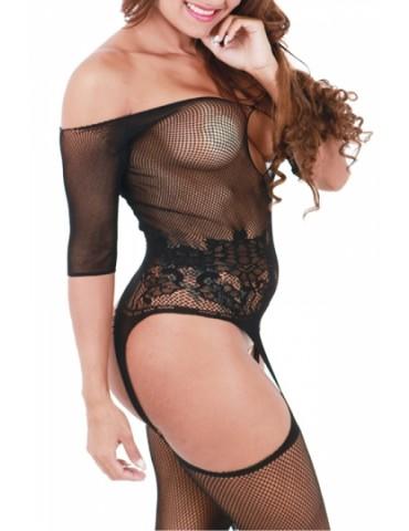 Half Sleeve Fishnet Suspender Bodystocking Black